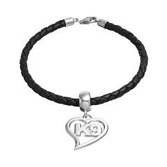Insignia Collection Sterling Silver & Leather 'K9' Heart Charm Bracelet