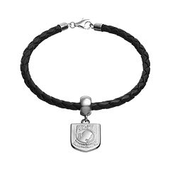 Insignia Collection Sterling Silver & Leather 'POW MIA' Charm Bracelet