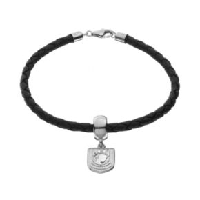 """Insignia Collection Sterling Silver & Leather """"POW MIA"""" Charm Bracelet"""