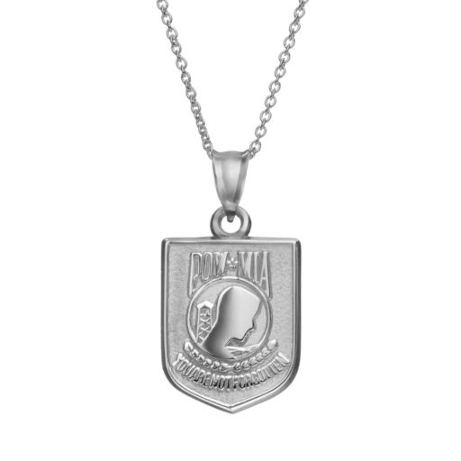 """Insignia Collection Sterling Silver """"POW MIA"""" Pendant Necklace"""