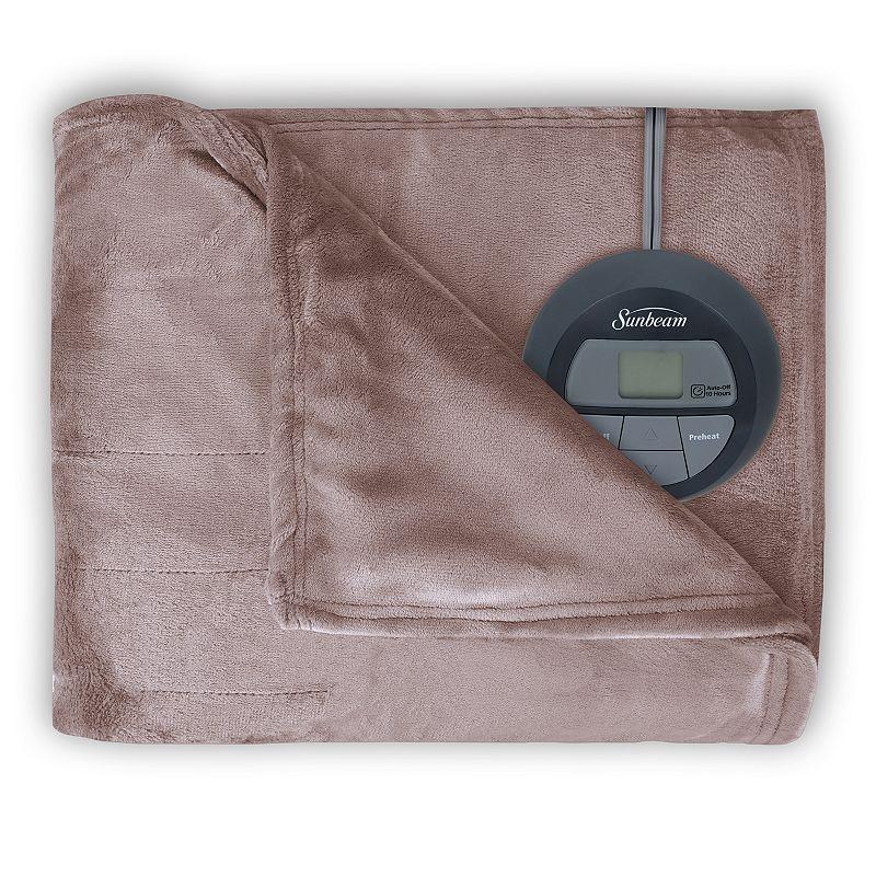 Sunbeam Slumber Rest Microplush Electric Blanket, Beig/Green (Beig/Khaki) -  BRM9KFS-R772-16A44