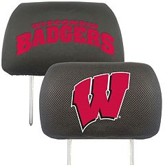 Wisconsin Badgers 2 pc Head Rest Covers