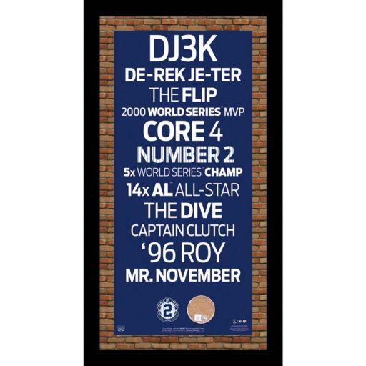 """Steiner Sports New York Yankees Derek Jeter 19"""" x 9.5"""" Vintage Subway Sign with Authentic Field Dirt"""