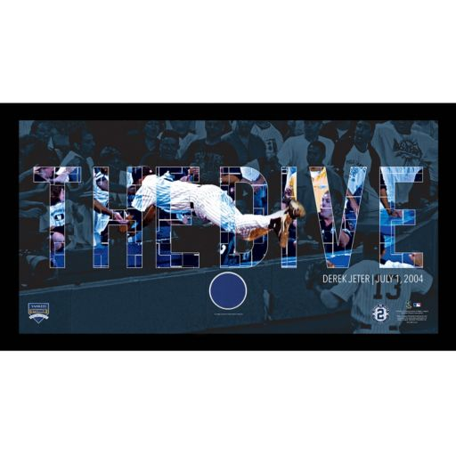 """Steiner Sports New York Yankees Derek Jeter Moments The Dive Framed 10"""" x 20"""" Photo with Authentic Field Dirt"""