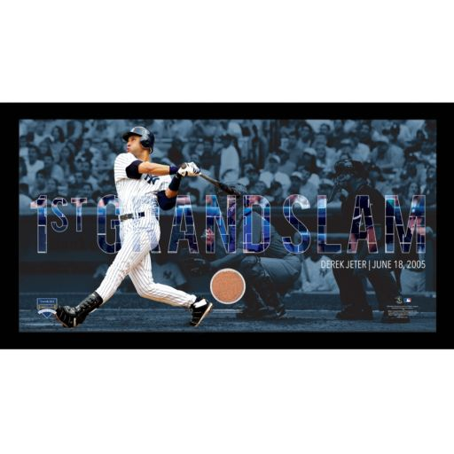 """Steiner Sports New York Yankees Derek Jeter Moments First Career Grand Slam Framed 10"""" x 20"""" Photo with Authentic Field Dirt"""