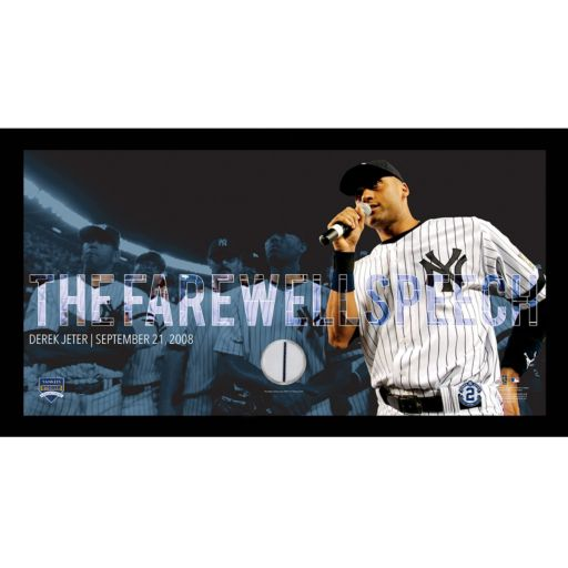 "Steiner Sports New York Yankees Derek Jeter Moments Farewell Speech Framed 10"" x 20"" Photo with Authentic Field Dirt"
