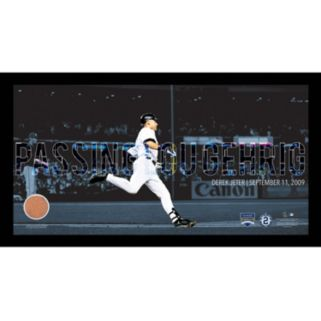 """Steiner Sports New York Yankees Derek Jeter Moments Passing Gehrig Framed 10"""" x 20"""" Photo with Authentic Field Dirt"""