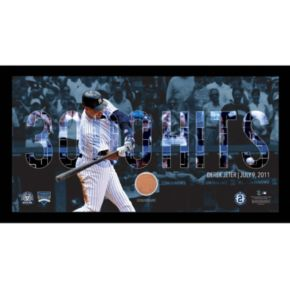 "Steiner Sports New York Yankees Derek Jeter Moments 3,000th Career Hit Framed 10"" x 20"" Photo with Authentic Field Dirt"