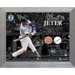 Steiner Sports New York Yankees Derek Jeter Career Timeline 11'' x 14'' Framed Photo with Authentic Field Dirt and Uniform Swatch