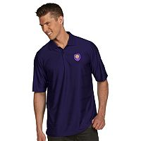 Men's Antigua Orlando City SC Illusion Desert-Dry Xtra-Lite Tonal-Striped Performance Polo