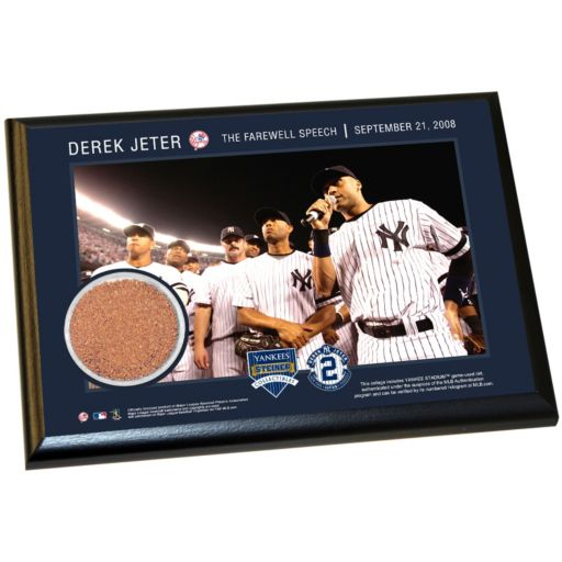 "Steiner Sports New York Yankees Derek Jeter Moments Farewell Speech 5"" x 7"" Plaque with Authentic Field Dirt"