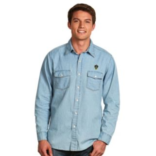 Men's Antigua Los Angeles Galaxy Chambray Button-Down Shirt
