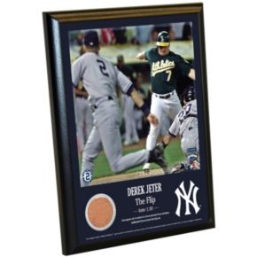 "Steiner Sports New York Yankees Derek Jeter Moments The Flip 8"" x 10"" Plaque with Authentic Field Dirt"