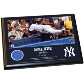"""Steiner Sports New York Yankees Derek Jeter Moments The Dive 8"""" x 10"""" Plaque with Authentic Wall Panel Swatch"""