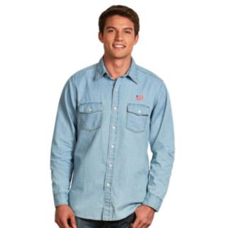 Men's Antigua New England Revolution Chambray Button-Down Shirt