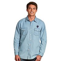 Men's Antigua San Jose Earthquakes Chambray Button-Down Shirt