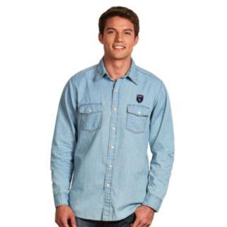 Men's Antigua San Jose Earthquakes Chambray Button-Down Shirt