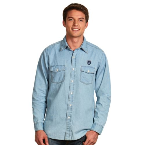 Men's Antigua Sporting Kansas City Chambray Button-Down Shirt