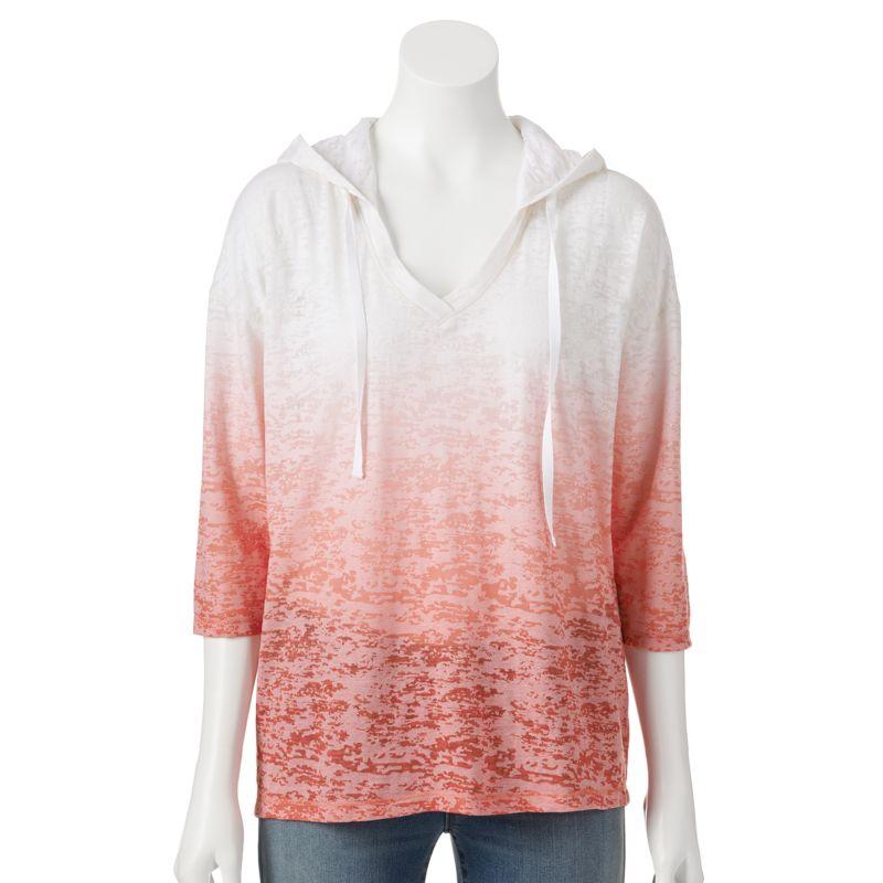 Sonoma life style dip dye burnout hoodie tee women s