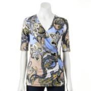 Dana Buchman Printed Faux-Wrap Top - Women's