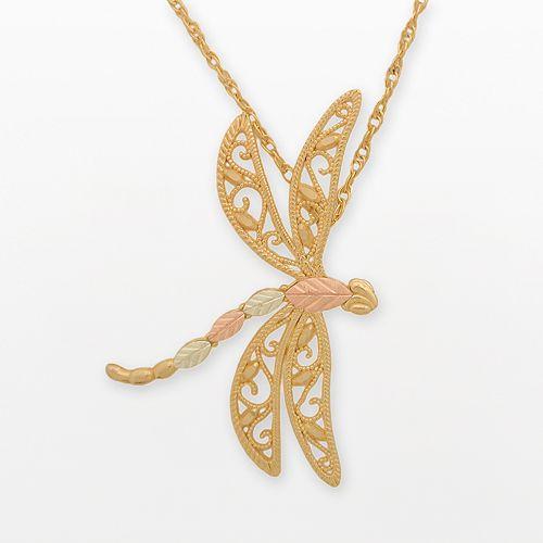 10K Gold Dragonfly Pendant