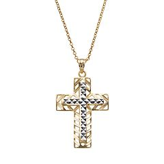 14k Gold Two Tone Openwork Cross Pendant Necklace