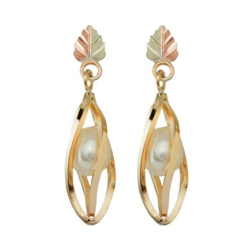 Black Hills Gold Tri-Tone Cultured Freshwater Pearl Drop Earrings