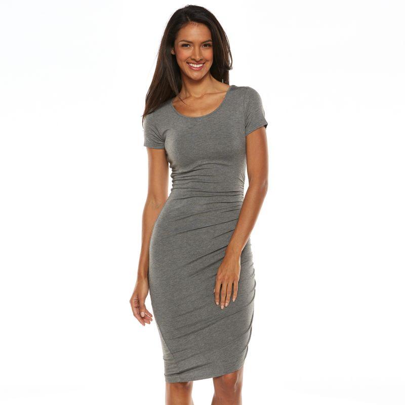 APT. 9 RUCHED T-SHIRT DRESS - WOMEN'S, SIZE: