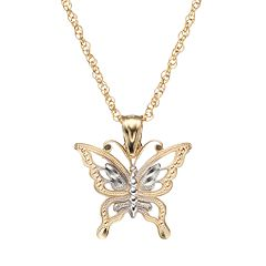 10k Gold Butterfly Pendant Necklace