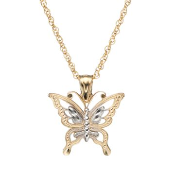 10k Gold Butterfly Pendant Necklace