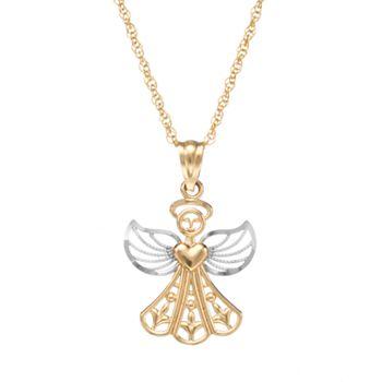 10k gold angel pendant necklace aloadofball Images