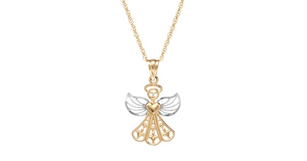 10k Gold Angel Pendant Necklace