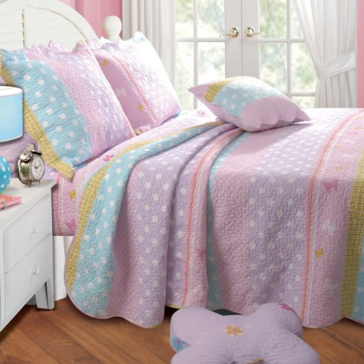 Polka-Dot Striped Quilt Set