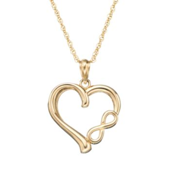 10k Gold Heart and Infinity Pendant Necklace