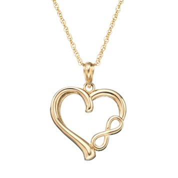 10k Gold Heart & Infinity Pendant Necklace