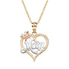 10k Gold Tri-Tone Openwork Heart 'Mom' Pendant Necklace
