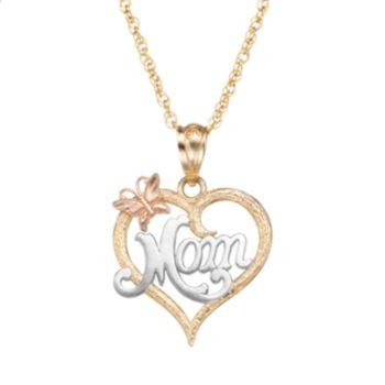 "10k Gold Tri-Tone Openwork Heart ""Mom"" Pendant Necklace"