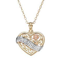 10k Gold Tri-Tone Openwork Heart 'Grandma' Pendant Necklace