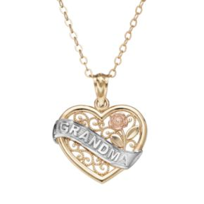 """10k Gold Tri-Tone Openwork Heart """"Grandma"""" Pendant Necklace"""