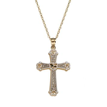 10k Gold Two Tone Openwork Cross Pendant Necklace