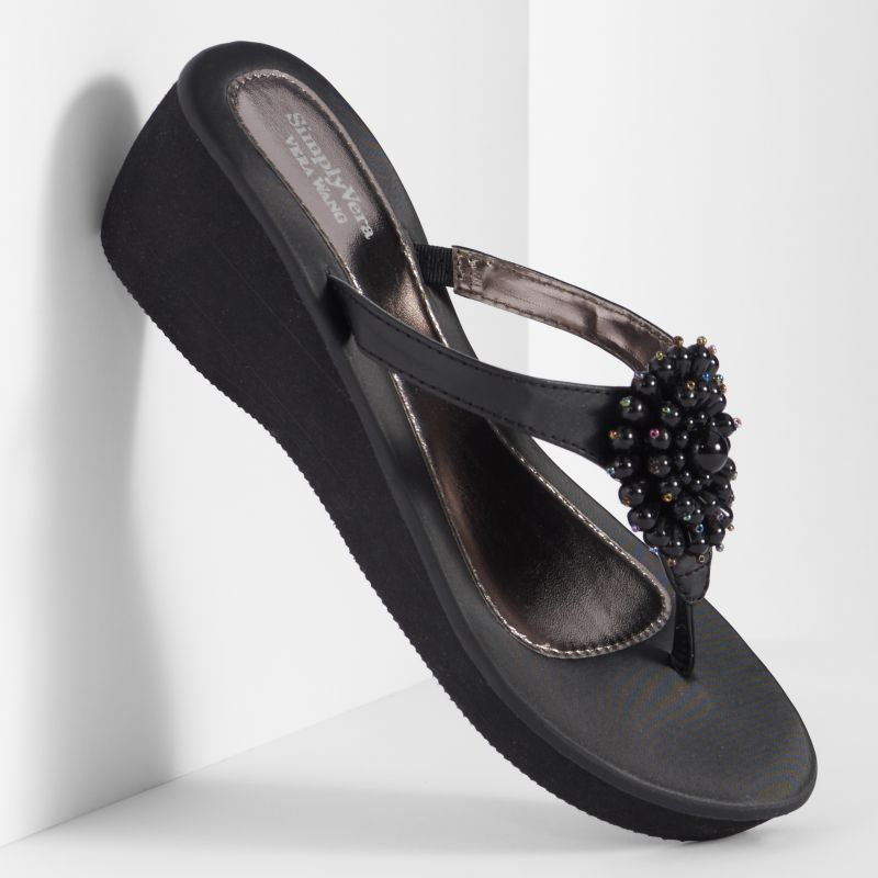Black Platform Sandals: Vera Wang Wedge Sandals Black With