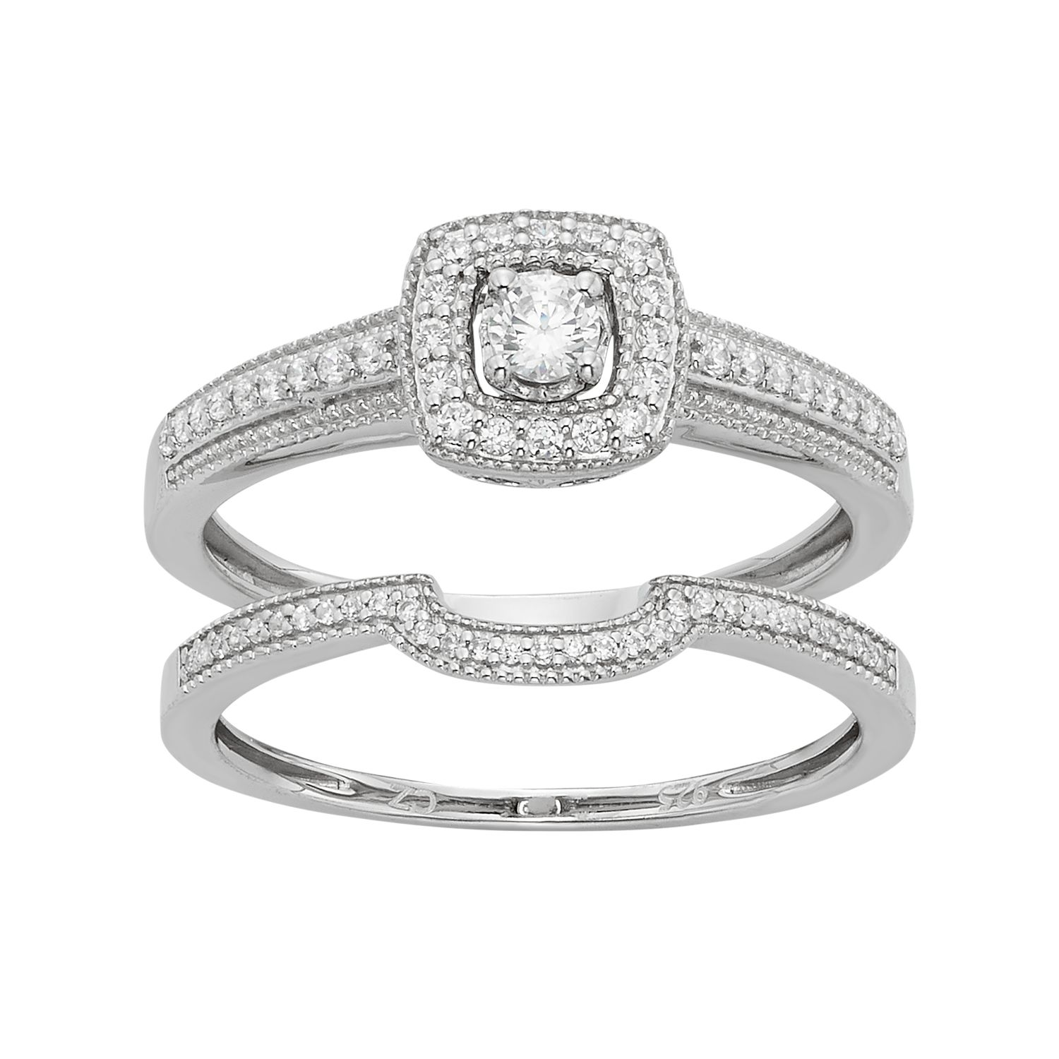Diamond Tiered Square Engagement Ring Set in 10k White Gold 13