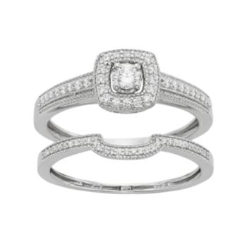 Diamond Tiered Square Engagement Ring Set in 10k White Gold 1 3