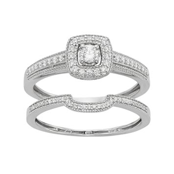 Diamond Tiered Square Engagement Ring Set in 10k White Gold (1/3 Carat T.W.)
