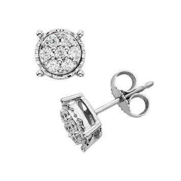 1/4 Carat T.W. Diamond Sterling Silver Cluster Stud Earrings