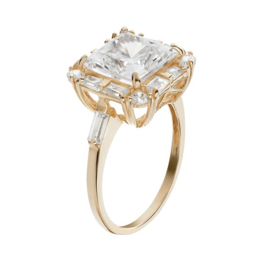 Cubic Zirconia 10k Gold Tiered Square Ring