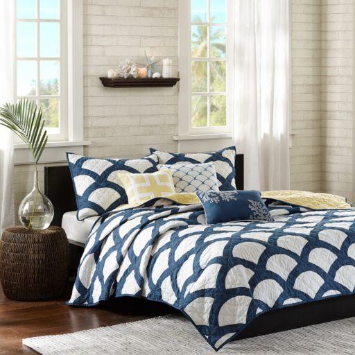 Madison Park Montego Blue 6-piece Quilted Coverlet Set