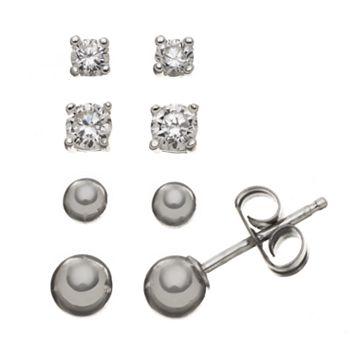 Cubic Zirconia Sterling Silver Ball Stud Earring Set