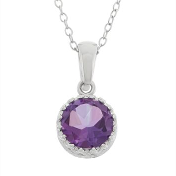 Tiara Amethyst Sterling Silver Pendant Necklace