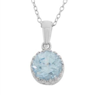 Tiara Lab-Created Aquamarine Sterling Silver Pendant Necklace
